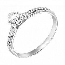 Помолвочное кольцо в белом золоте с бриллиантами, 0,38ct 000070620