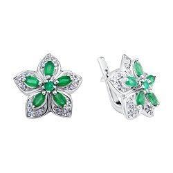Серебряные серьги с зелеными агатами и фианитами 000067513