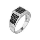 Золотое кольцо с черными бриллиантами Магнетизм