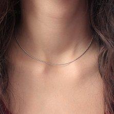 Серебряная цепочка Вивьен с плетением снейк с косой насечкой, 1мм