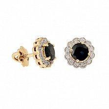 Золотые серьги с бриллиантами и сапфирами Мариэль
