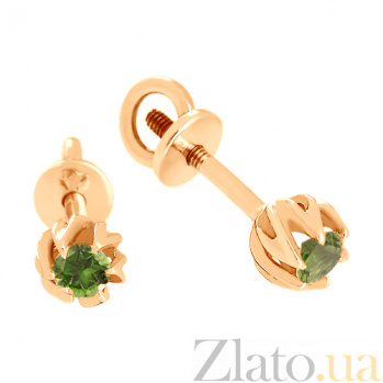 Сережки из красного золота с хризолитами Лорин VLN--113-660-6