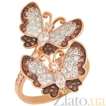 Кольцо из красного золота с фианитами Весенние бабочки VLT--ТТ132-2