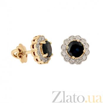 Золотые серьги с бриллиантами и сапфирами Мариэль ZMX--ES-6287_K