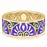 Мужское обручальное кольцо из желтого золота с эмалью Талисман: Души