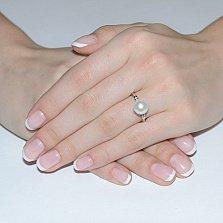 Золотое кольцо с жемчугом и фианитами Лилит
