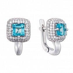 Серебряные серьги с голубым кварцем и фианитами 000133133