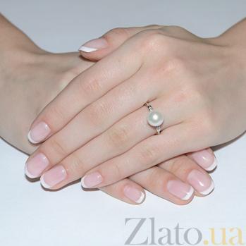 Золотое кольцо с жемчугом и фианитами Лилит SG--11326401