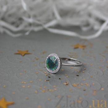 Золотое кольцо Миранда в белом цвете с опалом и цирконием 000053002