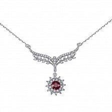 Серебряное колье Снежная королева с рубином и фианитами