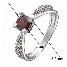 Серебряное кольцо с гранатом и фианитами Анни