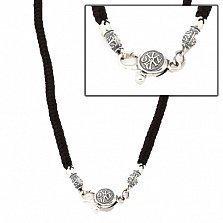 Тканевый шнурок Калисто с серебряной черненой застежкой Божья печать