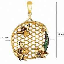 Подвеска Пара пчел из желтого золота