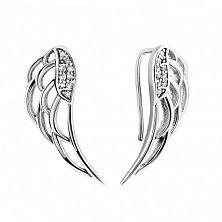 Серебряные серьги-каффы Крылья вдохновения с белыми фианитами