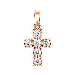 Декоративный крестик из красного золота с кристаллами Swarovski 000134335
