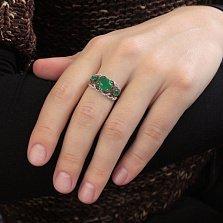 Золотое кольцо Элизиум с хризопразом и фианитами