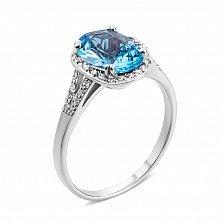 Золотое кольцо с топазом и фианитами 000134267