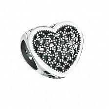 Серебряный шарм-сердце Ольви с узорной поверхностью и чернением