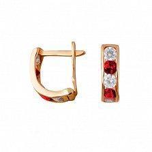 Золотые серьги Дормео с дорожками из белых и красных фианитов