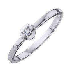 Помолвочное кольцо из белого золота с бриллиантом и родированием 000131443