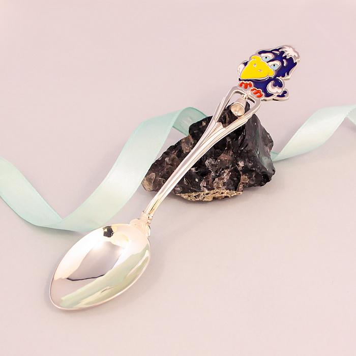 Серебряная чайная ложка Каркуша с разноцветной эмалью и колокольчиком 000079893