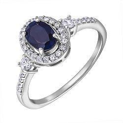Серебряное кольцо с сапфиром и фианитами 000132483