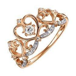 Кольцо-корона из красного золота с фианитами и родированием 000135653