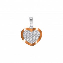 Серебряная подвеска Сердечко с золотой накладкой в усыпке белых фианитов
