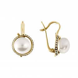 Золотые серьги Шантали с крупным белым жемчугом и фианитами