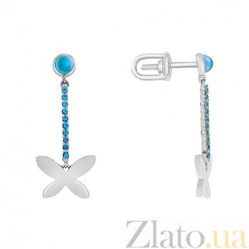 Серьги в белом золоте Порхающее чудо с голубым топазом и фианитами 000032962