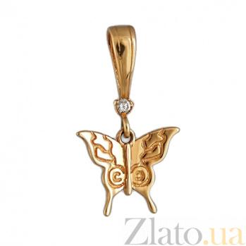 Золотой подвес с фианитом Бабочка 000022754