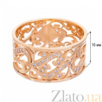 Золотое кольцо Le Louvre в красном цвете с фианитами 12046