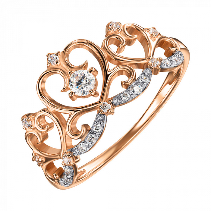 Кольцо-корона из красного золота с фианитами и родированием 000135653 000135653