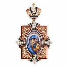 Золотая ладанка Казанская Божья Матерь с эмалью