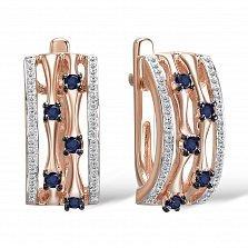 Золотые серьги Рудди с дорожками бриллиантов и сапфирами