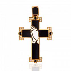 Золотой крест Истина с бриллиантами и эмалью 000029394