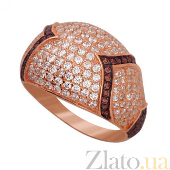 Золотое кольцо Рапсодия в красном и черном цвете с фианитами микс VLT--ТТ1029-3