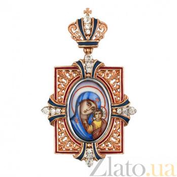 Золотая ладанка Казанская Божья Матерь с эмалью VLT--Э313-2