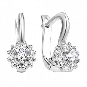 Срібні сережки з білими квіточками і фіанітами 000106869