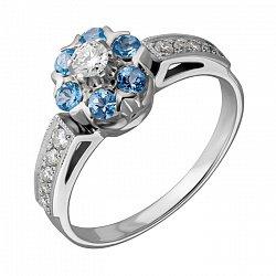 Кольцо из белого золота Джозефа с голубыми топазами и бриллиантами