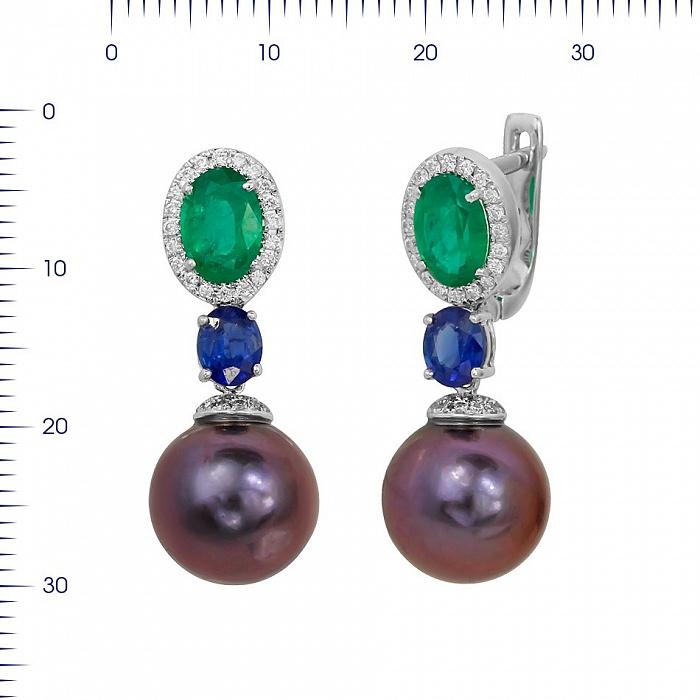 Серьги-подвески Барбара с бриллиантами, изумрудом, сапфиром и фиолетовым жемчугом 000081179