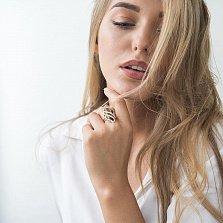 Золотое кольцо Каприз Дездемоны в красном цвете с раухтопазом и белыми фианитами