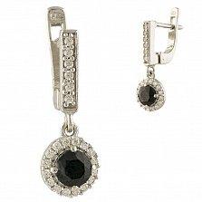 Серебряные серьги Францина с сапфирами и фианитами