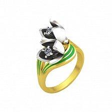 Эксклюзивное золотое кольцо Надежда с эмалью и бриллиантами