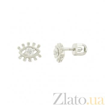 Серебряные серьги с фиантами Глазки 3С449-0091