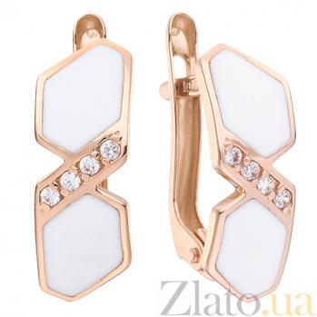Золотые серьги Анаит с белой эмалью и цирконием TNG--420008Е/бел