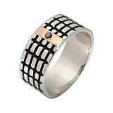 Серебряное кольцо Бродвей с золотой накладкой, эмалью и черным фианитом