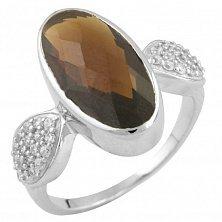 Серебряное кольцо Доротея с синтезированным гранатом и фианитами