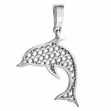 Серебряный подвес Дельфинчик с фианитами