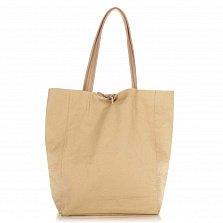 Кожаная сумка на каждый день Genuine Leather 8042 молочного цвета на завязках